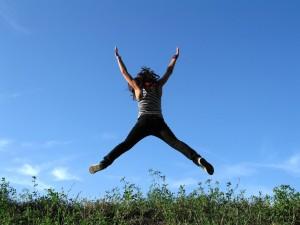 sprong van blijdschap